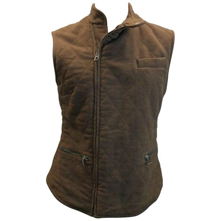 Hermes Brown Zip Up Vest