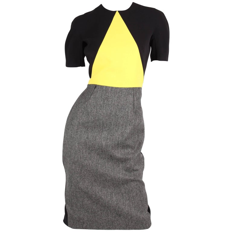 Victoria Beckham Dress - black/grey/yellow For Sale