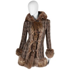 Dolce & Gabbana Checkered Boucle Coat - brown