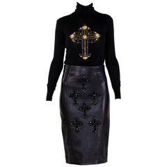 F/W12 LOOK#12 VERSACE GOTHIC CRYSTAL CROSS LEATHER SKIRT and WOOL TURTLENECK