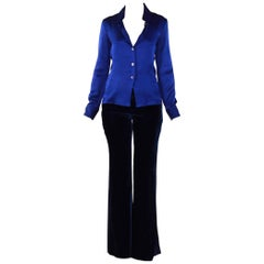 F/W1995 ICONIC TOM FORD for GUCCI BLUE SILK SHIRT and F/W2004 GUCCI VELVET PANT