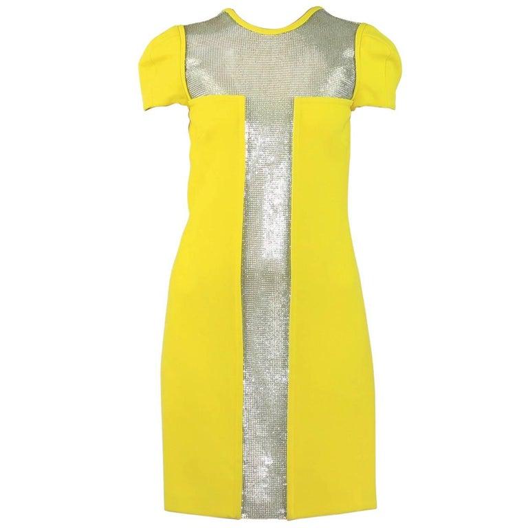 New Versace Yellow Dress with Metal Chain Mesh