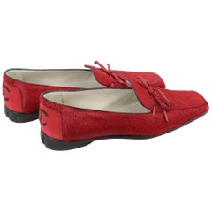 Vintage Never Used Chanel Red Calfskin Shoes. Size FR 41