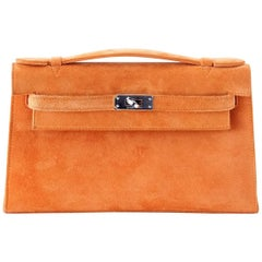 Hermes Kelly Pochette Rare Orange Doblis Palladium Hardware