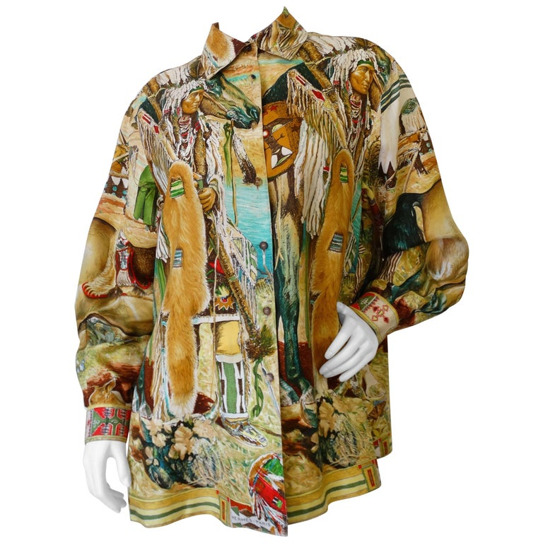 233f7f384a9fc 1980s Hermes Native American Indian Printed Button Up For Sale at ...