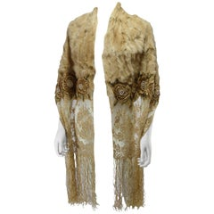 Stunning Limited Edition Valentino Jewel Embellished Lace and Rabbit fur Scarf