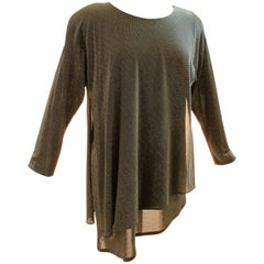 Festive Gold and Black Metallic Tunic Top Periphery Kathleen Usher I.Magnin 80s