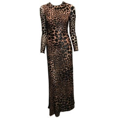 Michael Kors Nude Gown With Black Sequins Leopard Embroidery Sz2