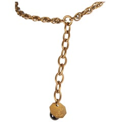 Vintage Chanel Necklace Bronze-tone - black beads 1983