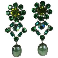 Austrian Emerald Crystal Earrings