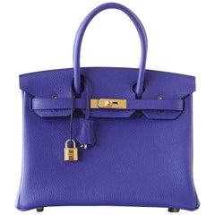 Hermes Birkin 30 Bag Blue Electric Clemence Gold Hardware