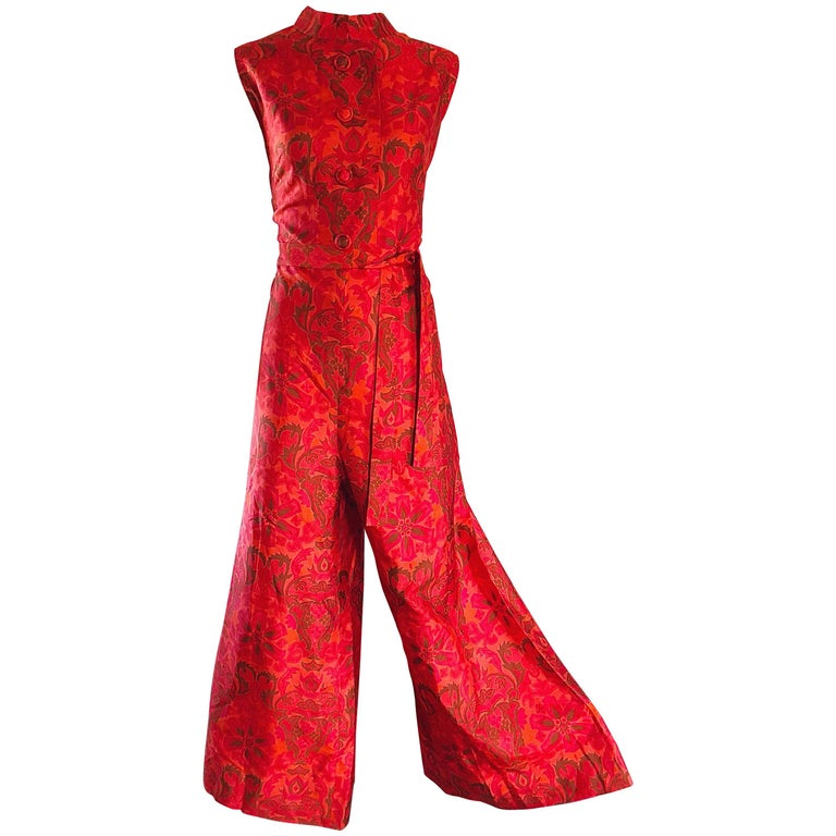 Amazing 1960s Wide Leg Palazzo Hot Pink + Orange Silk Vintage 60s Jumpsuit