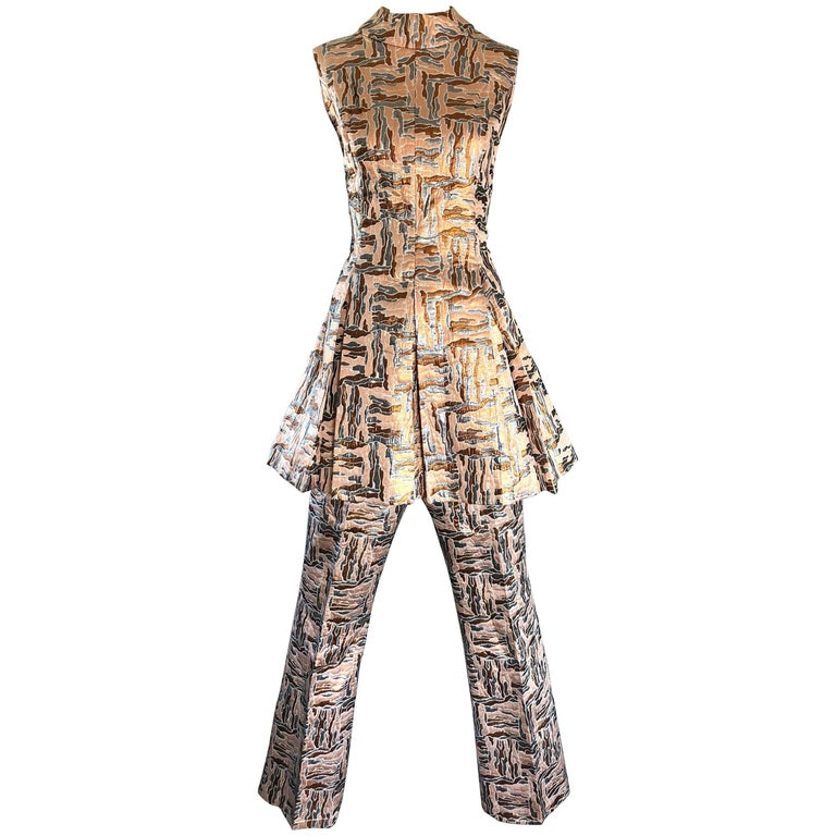 1960s Demi Couture Silver + Bronze Silk Brocade Tunic + Flare Leg Pants Ensemble