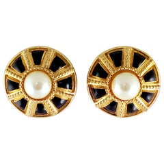 20th Century Gold Plate, Enamel & Faux Pearl Earrings By, St. John