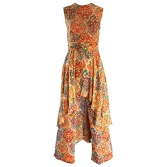 Oscar de la Renta Silk Boho Batik Print Vintage Jumpsuit with Attached Skirt