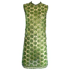 1960s Lime Green Heavily Sequin Beaded Demi Couture Mesh 60s Vintage Tunic Dress
