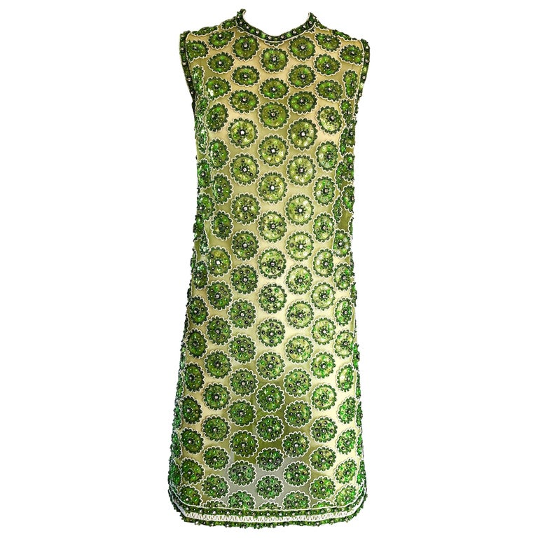1960s Lime Green Heavily Sequin Beaded Demi Couture Mesh 60s Vintage Tunic Dress For Sale