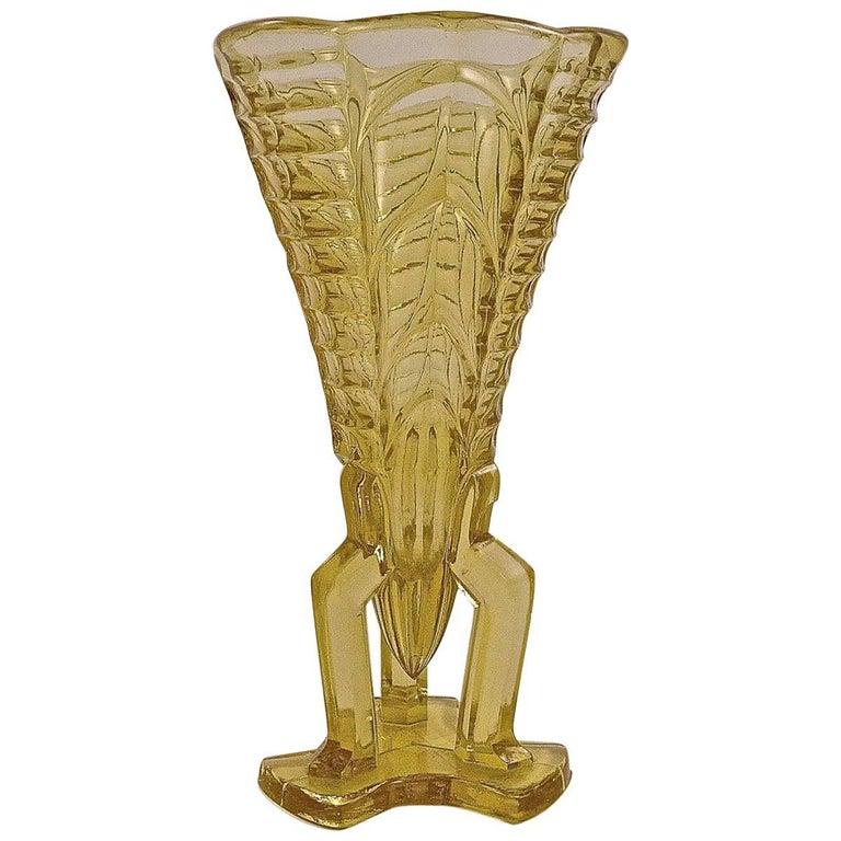 1930s Yellow Art Deco Pressed Glass Vase