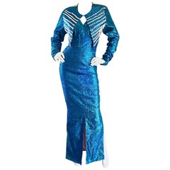 1950s Cerulean Blue Silk Lurex Showgirl Mermaid Gown + Bolero Beaded Jacket Set