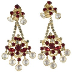 Kenneth Jay Lane Chandelier Earrings Red and Clear Crystals, 1960s