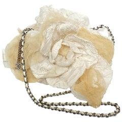Rare Chanel Cream 3-D Camellia Flower Bag