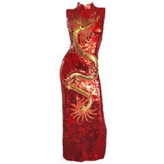 Vintage Red and Gold Fully Sequined Dragon + Cloud Print Novelty Cheongsam Gown