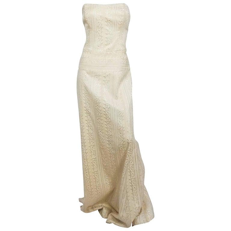 1990s Nicole Miller Strapless Ivory Jacquard Dress