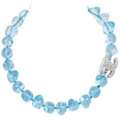 Chanel Celeste Blue Gripoix Choker Necklace with CC Logo Clasp