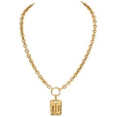Chanel Gold Logo Address Tag Necklace