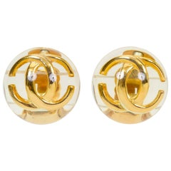 Chanel Vintage 1980's CC logo Lucite Clip Earrings