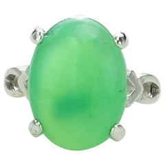 Green Chrysoprase Cabochon set in Sterling Silver Ring