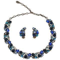 1960s Lisner Aqua Rhinestone Necklace & Clip-On Earring Set