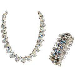 1960s Coro Aurora Borealis Rhinestone & Faux Pearl Necklace & Bracelet Set