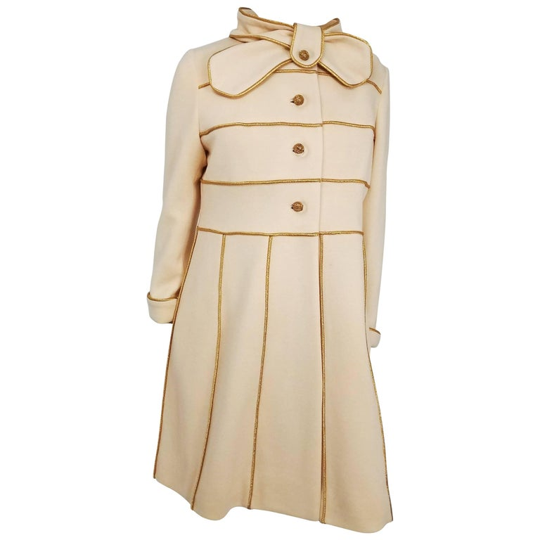 1960s Lilli Ann Knit Gold And Cream Dress And Coat Set For