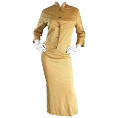 1960s Alfred Shaheen Gold Jersey Metallic Cheongsam 60s Dress and Cardigan Set