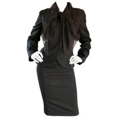 John Galliano Early 2000s Black Size 8 / 10 1940s Style Jacket Skirt Suit