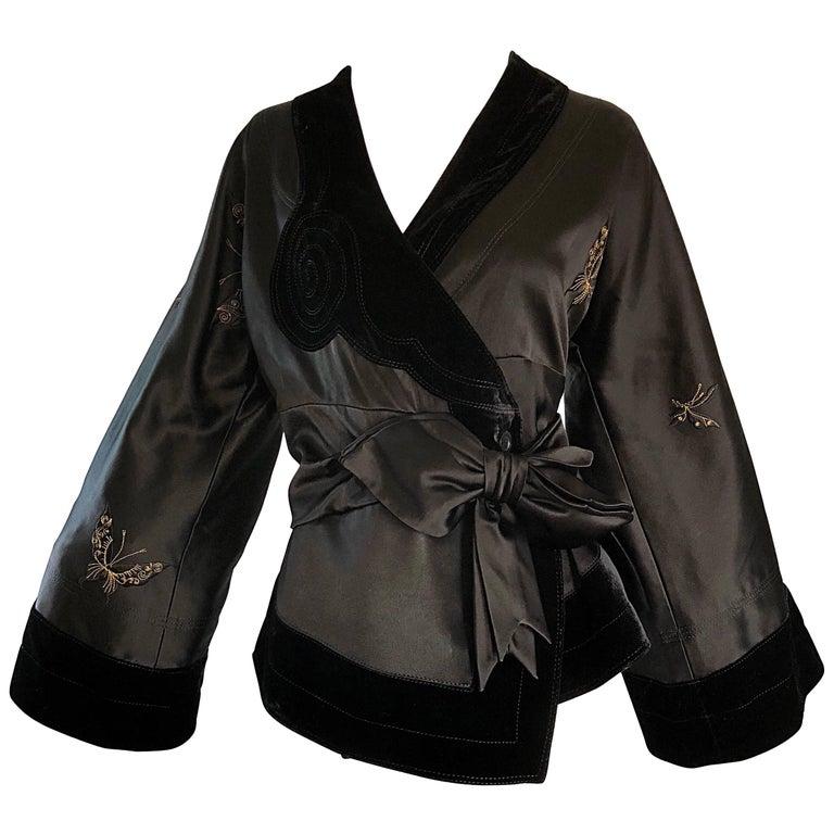 New John Galliano Black Silk Satin Size 12 Kimono Jacket w/ Gold Butterflies