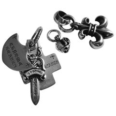 Five Chrome Hearts Sterling Silver Charm Pendant Collection, Heart Bs Fleur