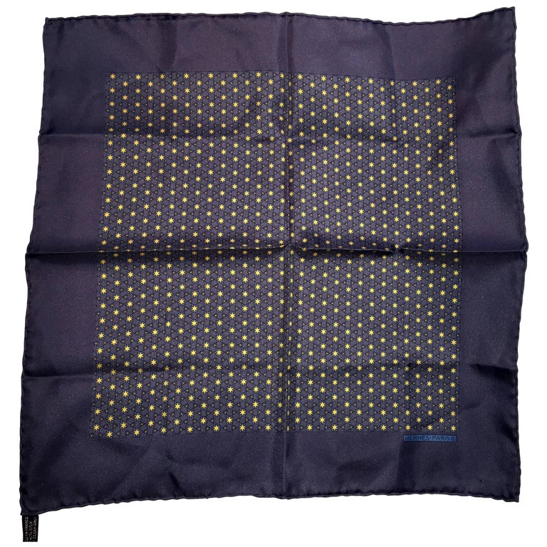 Hermes Midnight Blue pocket square  scarf with stars