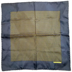 Hermes navy blue  silk pocket scarf  square with yellow golf balls