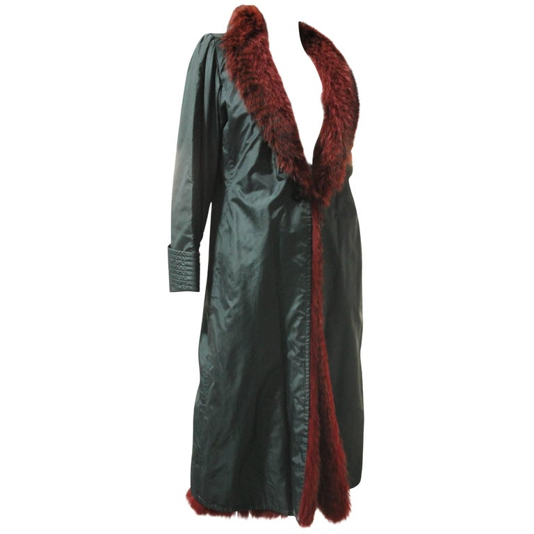 1970s Emanuel Ungaro Forest Green Silk Duster Coat w Red Feathered Fox Lining