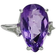 Pear shaped Amethyst set in Sterling Silver Ring