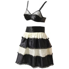 1950s French Maid Ensemble - Bra w Tiered Organza Black and White Petticoat