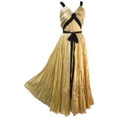 1940s Max - Madrid Sunburst Pleated Gold Foil Goddess Gown w Velvet Straps