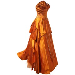1950s MGM Mme. Etoile by Irene Sharaff Couture Ball Gown in Deep Persimmon Silk