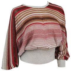 1970s Disco Striped Lamé Batwing Sweater