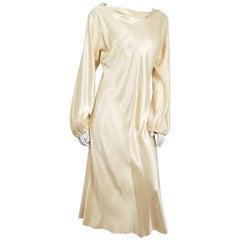 1970s Satin Cowl Neck Disco Dress