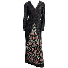 1970s Black Lamé Jersey Maxi Dress