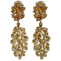 Vermeil and CZ Drop Clip Statement Earrings