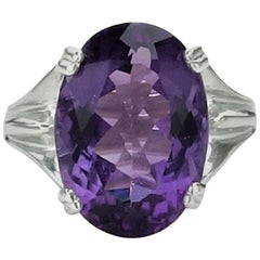Oval Amethyst in Sterling Silver Ring